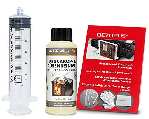 Octopus Düsenreiniger, Druckkopfreiniger kompatibel für Canon Pixma Druckköpfe mit Schlauchadaptern (100 ml)