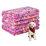 1 Pack 3 Dog Puppy Blanket Small Warm Soft Fleece Pet Cat Throw Blankets Washable Fluffy Couch Beds Cover Chew Proof Paws Pink
