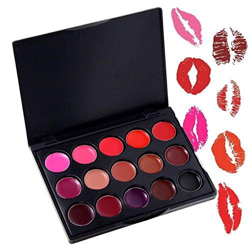 ROMANTIC BEAR 15 Farben Mini Lipgloss Palette Wasserdichte Matt Sexy Rot Schwarz Braun Lippenstift...