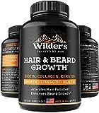 Mens Beard Growth Vitamins - Made in USA - Natural Hair Regrowth Supplement - Thicker, Longer & Fuller Facial Hair with Biotin, Collagen, Keratin - 60 Capsules