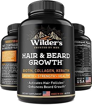 Mens Beard Growth Vitamins - Made in USA - Natural Hair Regrowth Supplement - Thicker Longer & Fuller Facial Hair with Biotin Collagen Keratin - 60 Capsules