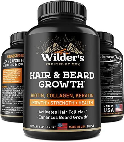 Beard Growth Pills - Hair Grow Vitamins for Men - Made in USA - Biotin, Collagen, Keratin, MSM Supplement - Facial Thick Mustache Grower - 60 Capsules