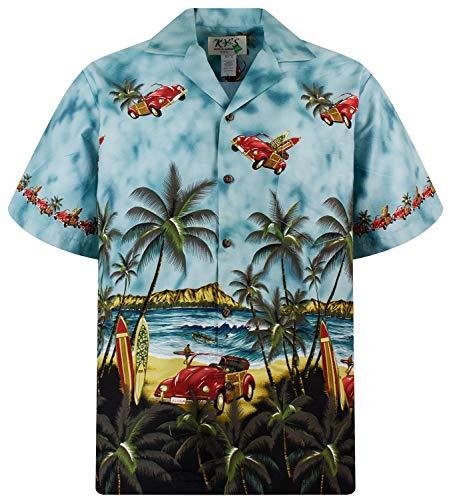 KY´s Original Camisa Hawaiana, Flying Beetle, verde M