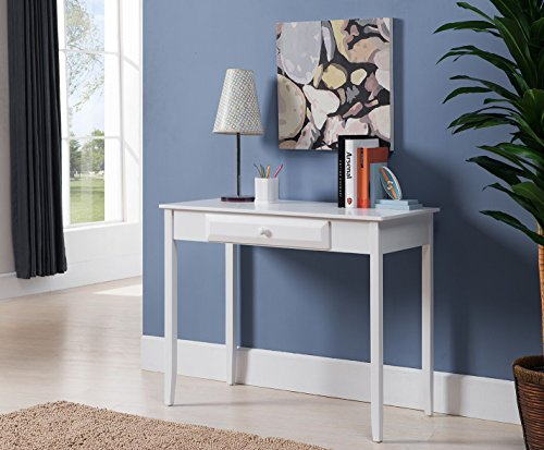 Kings Brand Furniture Wood Home & Office Parsons Desk with Drawer, White