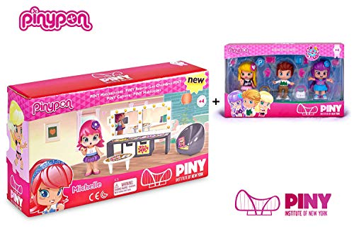 Famosa PinyPon - Pack Pinypon Habitacion Michelle (700014155) + Blister 3 Personajes Julia, Will y Lilith (700013378)