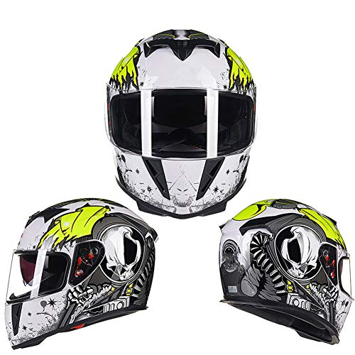 WWJJE (Blanco Verde) Flip Up Moto Casco ECE | Scooter Motorcycle Crash Casco Modular Hombres, Damas con Visera-XXL