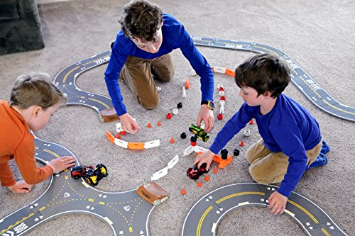 Image of Modarri Delux Street Trackset | Race Car Track Building System | Build a Car Included Soft Eva Foam | 20 Track Pieces, 11 Driving Accessories, and 14 car Pieces in one Pack! STEM Toys