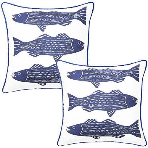 YuanDe Set of 2 Ocean Stripe Fish Throw Pillow Covers 18 x 18 Inch with Blue Piped Edging, Cotton Linen Double Side Nautical Theme Pillowcase, Summer Square Cushion Covers for Home Room Car Decor