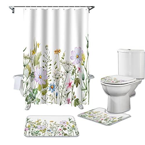 dodouna 4 Stücke Frühlingsblume Vanille Wildblume Duschvorhang Sets rutschfeste Teppiche Toilettendeckel Und Badematte wasserdichte Badezimmervorhänge 180x180cm