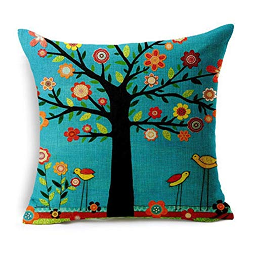 QXLG Pillow 45x45cm cozy couch Cushion colorful Trees Printed home sofa pillow Bed Home Decorative Pillow Comfortable (Color : Burgundy, Specification : 45x45cm only cover)