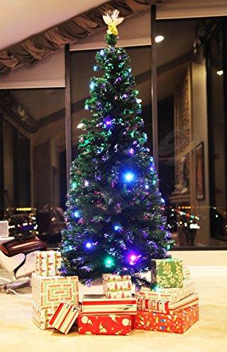 XmasBuddy 7 FT PRE-LIT Multi Color LED Lights & Fiber Optic Christmas Tree with Angel Topper