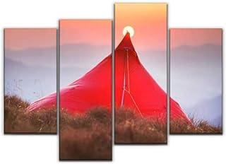 4 لوحات صباح جميلة في الجبال في رحلة التخييم خيمة في قماش صور ديكور المنزل هدايا قماش جدار الفن لغرفة المعيشة الخاصة بك