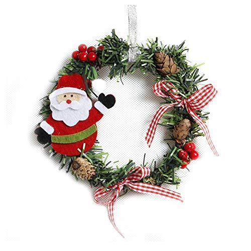 NWQEWDG Corona de Navidad, Adorno para árbol de Navidad, Corona para Puerta, Artificial con Bayas Rojas y piñas de Abeto para Colgar en Puertas, Paredes y escaleras, decoración de Boda