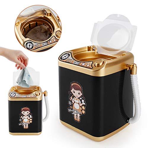 YVSoo Mini Machine à Laver Dînette Enfant Outil de Nettoyage Maquillage Machine électronique pour Laver Houppe à Poudre, Pinceaux de Maquillage - Noire