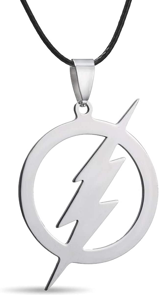 RINHOO Stainless Steel Superhero Flash Nekclace Lightning Necklace Pendant for Men boy Gift (1pc-Flash)