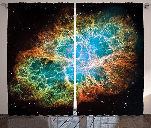 ABAKUHAUS Ruimte Gordijnen, Supernova Stars Cosmos, Woonkamer Slaapkamer Raamgordijnen 2-delige set, 280 x 260 cm, Black Teal Oranje