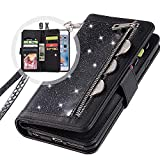 iPhone 6S Bling Wallet Case with Strap,Auker Girly Trifold 9 Card Holder Sparkly Glitter Zipper Wallet Case Folio Flip Leather Protective Purse Case with Stand/Money Pocket for Women iPhone 6 (Black)