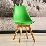 HYZXK Tulip Chair Plástico Madera Retro Sillas de Comedor Blanco Negro Gris Rojo Amarillo Verde Azul Naranja (Color: Verde)