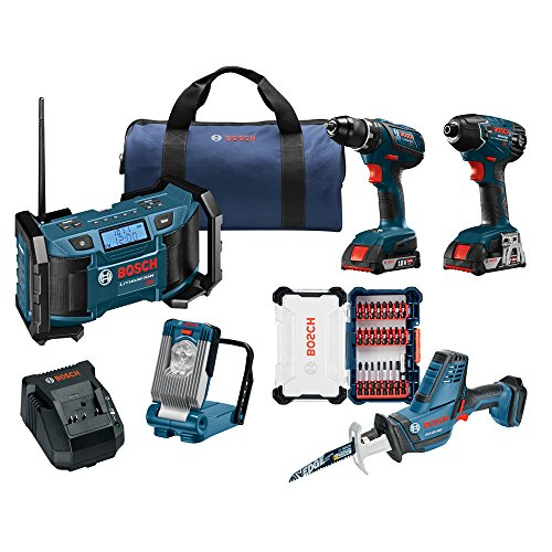 Bosch Combo Kit with Drill, Impact Driver, Reciprocating Saw, LED Light, SlimPack Batteries with AM/FM Radio and Screwdriving Custom Case