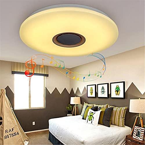 Plafón Con Música Inteligente Con Altavoz Bluetooth,Lámpara De Techo LED RGB Regulable Con Control Remoto Y Control De APP, Araña Estrellada Para Cocina, Dormitorio,50cm60w