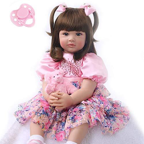 Zero Pam 60 cm Lebensechte Reborn Babypuppen, Weiches Silikon, Echte Realistische Baby Puppe mit Vollgewichtetem Körper, Handgefertigte Süße Baby-Puppe mit Kleidung - Mädche (Artikel 3)
