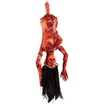 Amosfun Broken Body Parts Hanging Dry Corpse Prank Trick Props Horror Decors Haunted House Halloween Party