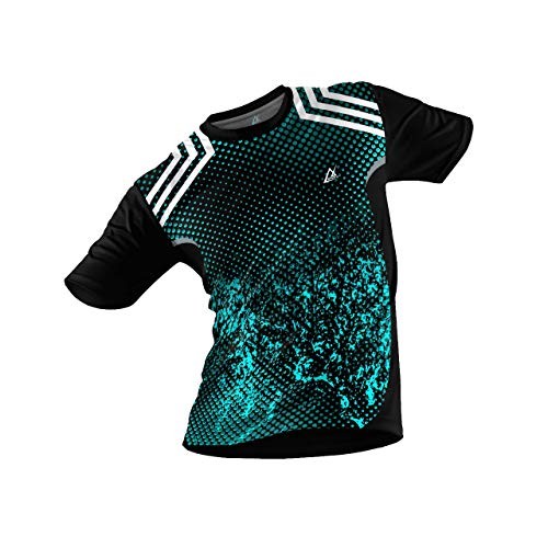 JJ TEES Polyester Half Sleeve Jersey with Round Collar and Digital Print All Over for Men (Size:L) (Color: Black and Teal)