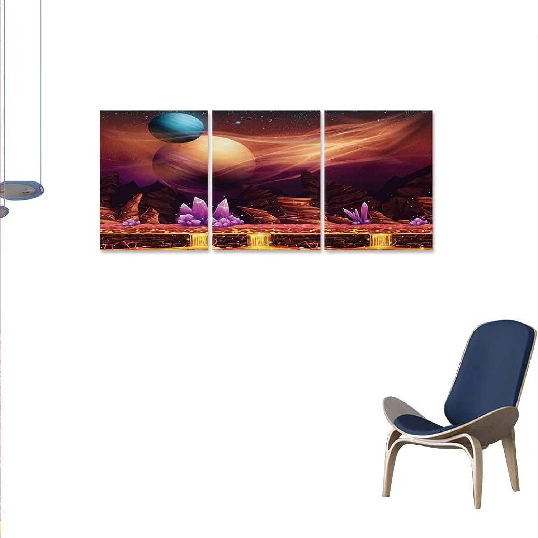 Fantasy Canvas Wall Art Bedroom Home Decorations Fantasy Spot River in Mars Nebula Other Planets Solar Zodiac Theme Artwork Wall Decor 16 x24 x3pcs Multicolor