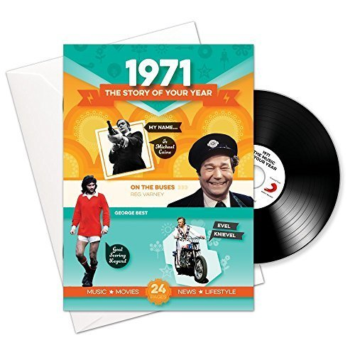 1971 The Story of Your Year 50th Birthday Card and CD with Music and Facts