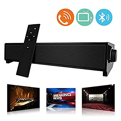 TV Soundbar,Bluetooth Sound bar with Dual Bass Ports,Home Theater Speaker Wired and Wireless Sound bars with Remote Control for TV, PC, Smartphones,Tablets,Computer from Funwaretech