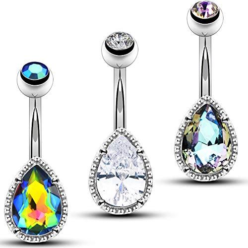 OUFER Belly Bar Surgical Steel Tear Drop Cubic Zirconia Gem Navel Piercing Jewellery 14G Belly Button Bars