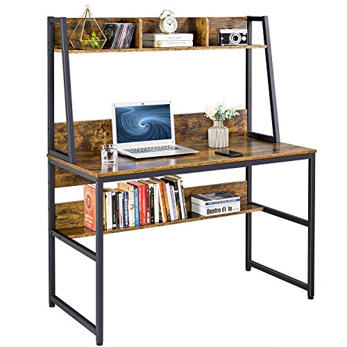 YAHEETECH 47 inches Computer Desk with Bookshelf and Hutch, Home Office Space Saving Bookshelf Desk, Modern Writing Desk with Bookshelf, PC Laptop Table Workstation with Storage Shelves, Rustic Brown