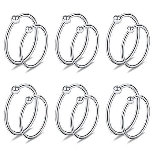 Acefun 12PCS 18G Nose Hoop Lip Eyebrow Tongue Helix Tragus Cartilage Septum Piercing Ring 8mm 10mm- Silver