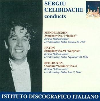 "Mendelssohn, Felix: Symphony No. 4, ""Italian"" / Haydn, F.J.: Symphony No. 94, ""The Surprise"" (Berlin Philharmonic, Celibidache) (1946, 1950)"