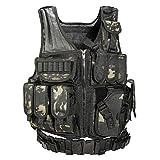 YAKEDA Tactical Vest Outdoor Ultra-Light Breathable Combat Training Vest Adjustable for Adults 600D Encryption Polyester-VT-1063 (Black cp)
