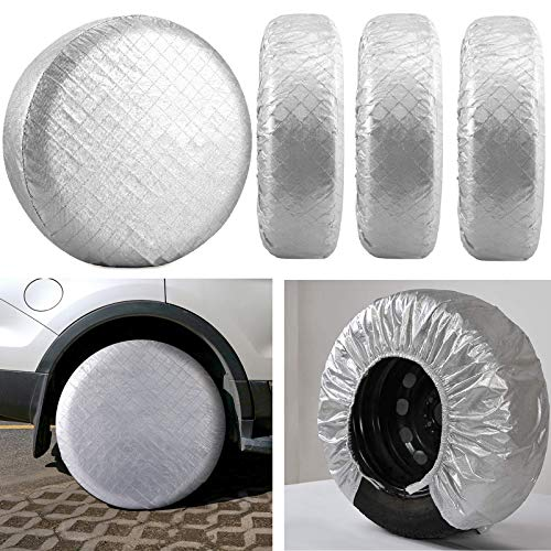 "Kohree Tire Covers for RV Wheel Covers Set of 4, Trailer Camper Motorhome Wheel Covers for 27"" to 29"" Tires Diameters, Waterproof Snow UV Sun Tire Protector, Aluminum Film"