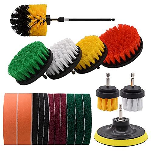 Set di accessori per spazzole per trapano, kit di spazzole per trapano per lavasciuga da 15 pezzi, per la pulizia di superfici del bagno, pavimento, vasca, cucina, automobilistico