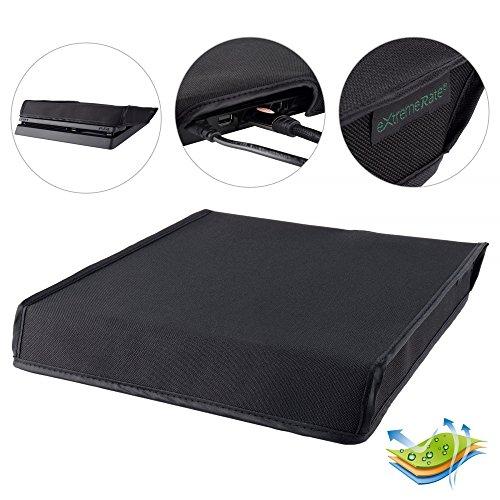 eXtremeRate Prueba de Polvo Consola PS4 Funda Cubierta Protectora Horizontal Diseño de Doble Capa Forro Corte Preciso Fácil de Acceso los Cables Guardapolvo para Consola Playstation 4 PS4 Slim(Negro)