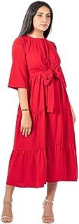 فستان لف من الأمام بتصميم متوسط الطول احمر