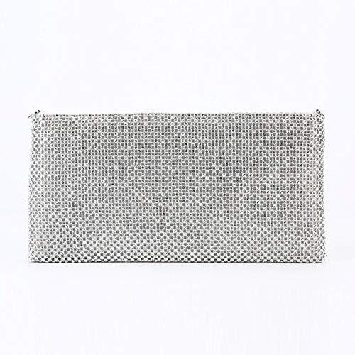 EDCV Ladies Dinner Bag handgemaakte strass avondtas met ritssluiting schoudertas, zilver