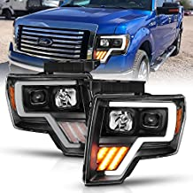 AmeriLite Black Projector Headlights LED Bar and Turn Signal Set For Ford F-150 - Passenger and Driver Side