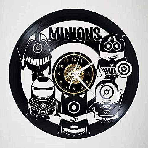 GVSPMOND Reloj de Pared Disco de Vinilo Reloj de Pared nostálgico Silueta Registro Arte Hecho a Mano decoración del Dormitorio Regalo