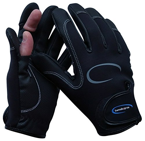 LURESHOP.EU Stretch Neoprene Fishing Gloves 2 Cut Fingers - Best Use in Light Cold Weather Conditions - Size M, L and XL (Black, XL)