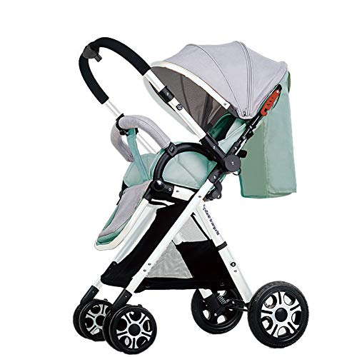 Yhz@ High Landscape Baby Stroller Handle Reversible Infants Buggy se Puede sentar y tumbarse DownUltralight Portable Foldable Child Cart Sillas de Paseo (Color : Mint Green (2))