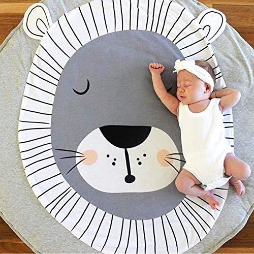 PXDOOK Mignon Tapis de Chambre Rond Dessin Animé Bébé Tapis de Jeu Tapis d'Eveil Mat Playmate Couverture pour Bébé 0-3 Ans -Lion