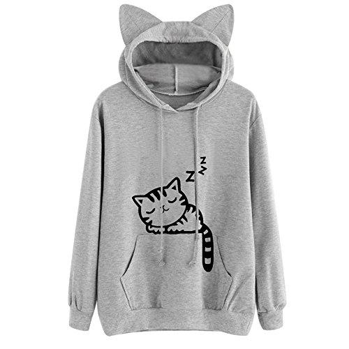 Xmiral Hoodie Pullover Damen Herbst Winter Mädchen Cat Drucken Kapuzenpullover Sweatshirt Casual Langarm Top (S,Grau)