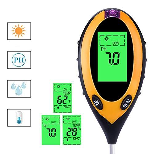 JXRY Testeur de Sol 4 en 1, kit de testeur de Sol pour Plantes avec humidimètre avec pH, écran LCD, pour Fleurs/Herbe/Plante/Jardin/Ferme/pelouse/intérieur et extérieur