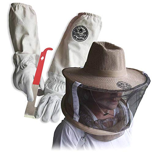 3 Pack Beekeeper Set - Gloves, Hive Tool, Hat & Veil