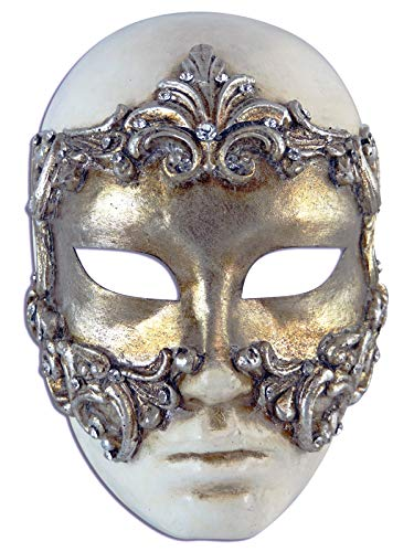 Magic of Venezia Venezianische Vollmaske Volto Baroque für Männer und Frauen (Silber)