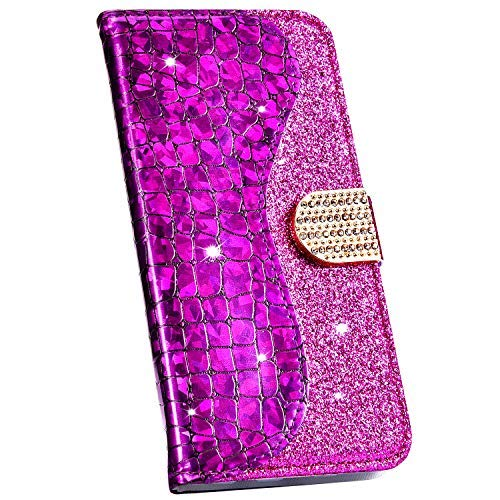 Ysimee Hülle kompatibel mit Samsung Galaxy J6 Plus 2018 Schutzhülle mit Kartenfach und Ständer, Bling Glänzend Flip Tasche Laser Spleißen Lederhülle Wallet Brieftasche Stoßfest Handyhülle/Lila
